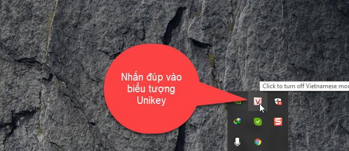 Nhấn đúp vào biểu tượng Unikey