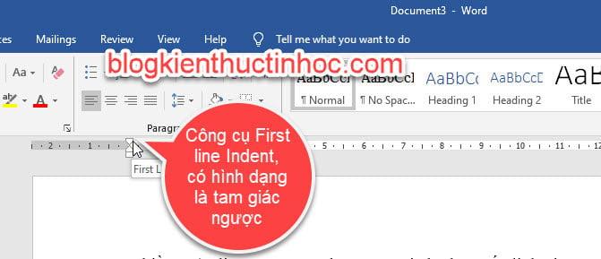 Công cụ First line indent