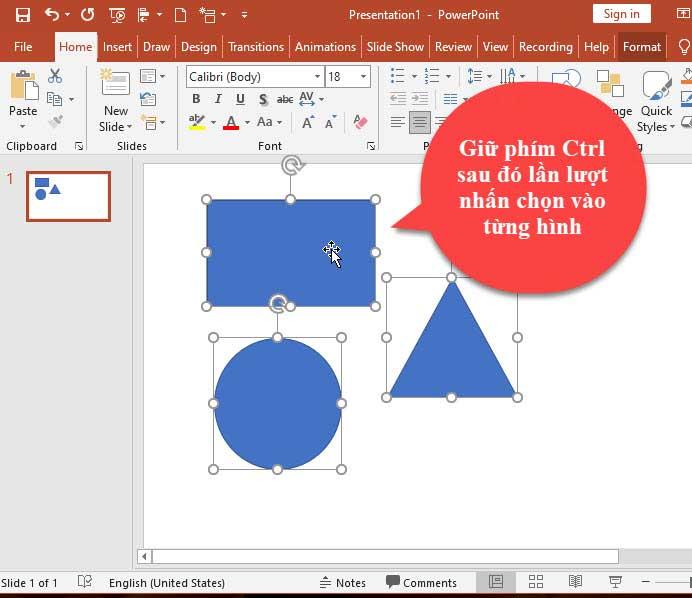 Cách chọn hình vẽ trong Powerpoint