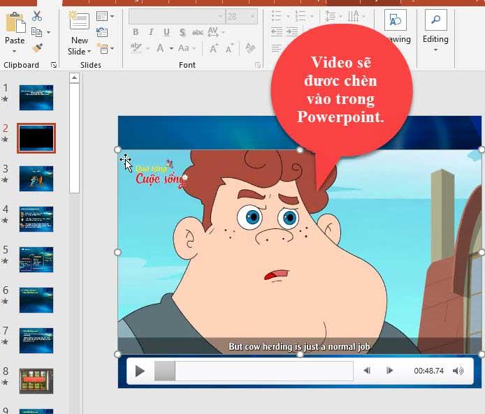 video được chèn vào powerpoint