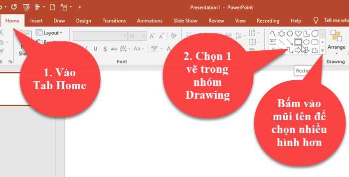 hướng dẫn vẽ hình trong powerpoint