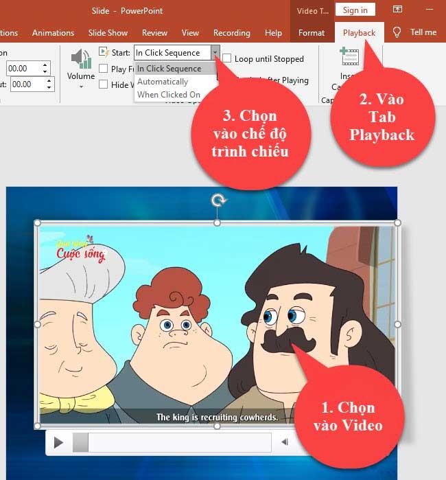 Các chế độ trình chiếu video trong powerpoint