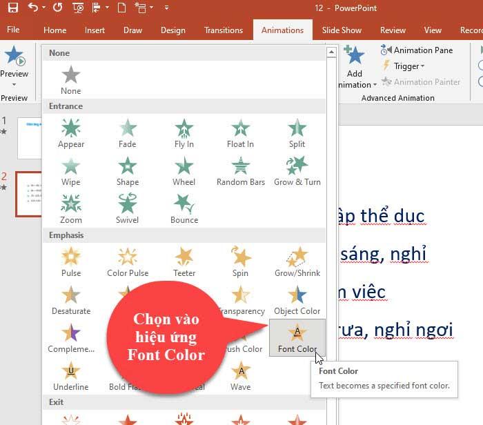 hiệu ứng đổi màu cho chữ powerpoint