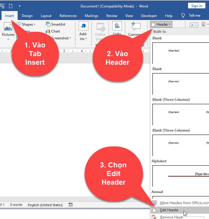 Cách tạo header và footer trong word