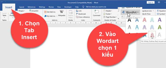 Cách xoay chữ trong word