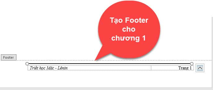 tạo footer trong word