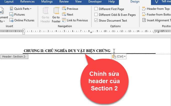 tạo header và footer khác nhau trong word