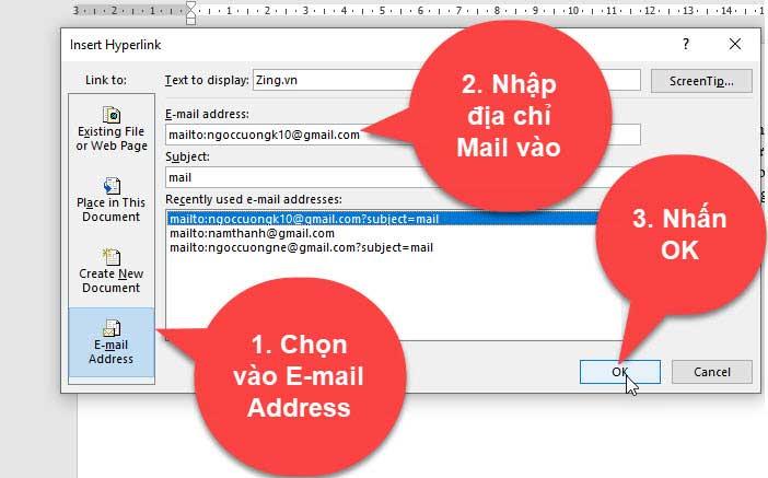 tạo liên kết mail trong word