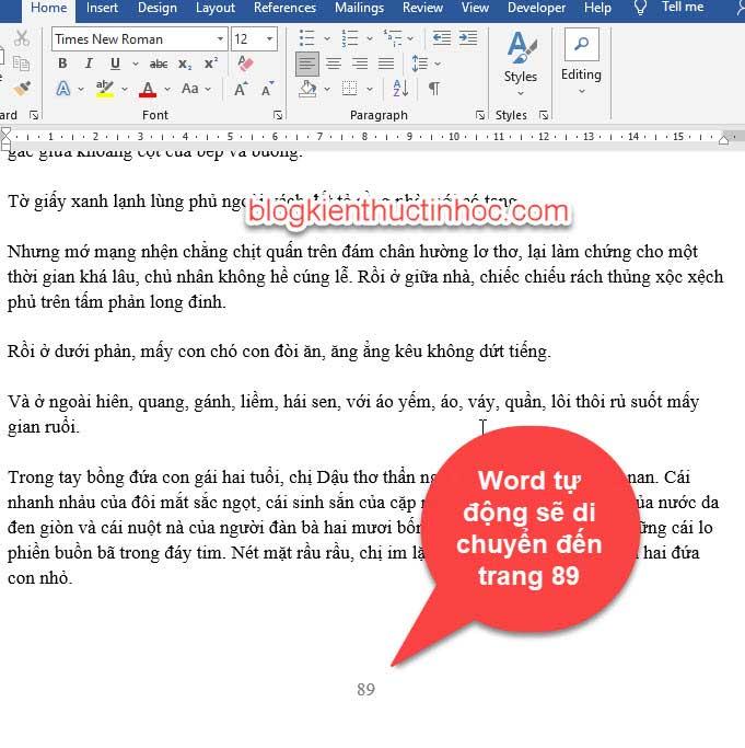 cách di chuyển trang nhanh trong word